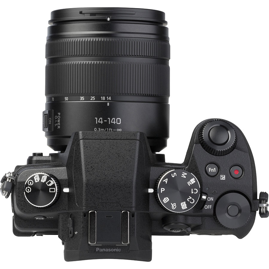 Panasonic Lumix DMC-G80 + Lumix G Vario 14-140 mm Power OIS - Vue du dessus