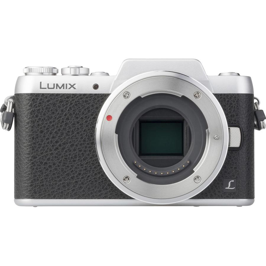 Panasonic Lumix DMC-GF7 + Lumix G Vario 12-32 mm OIS - Vue de face sans objectif
