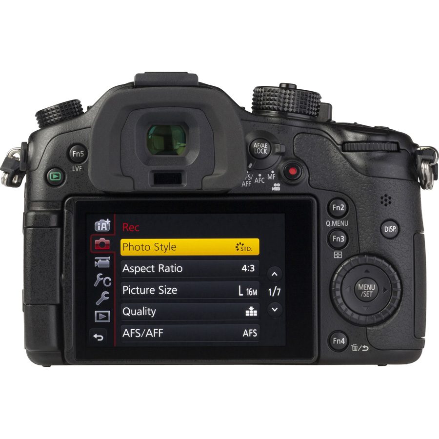 Panasonic Lumix DMC-GH4 + Lumix G Vario 14-140 mm - Vue de face sans objectif