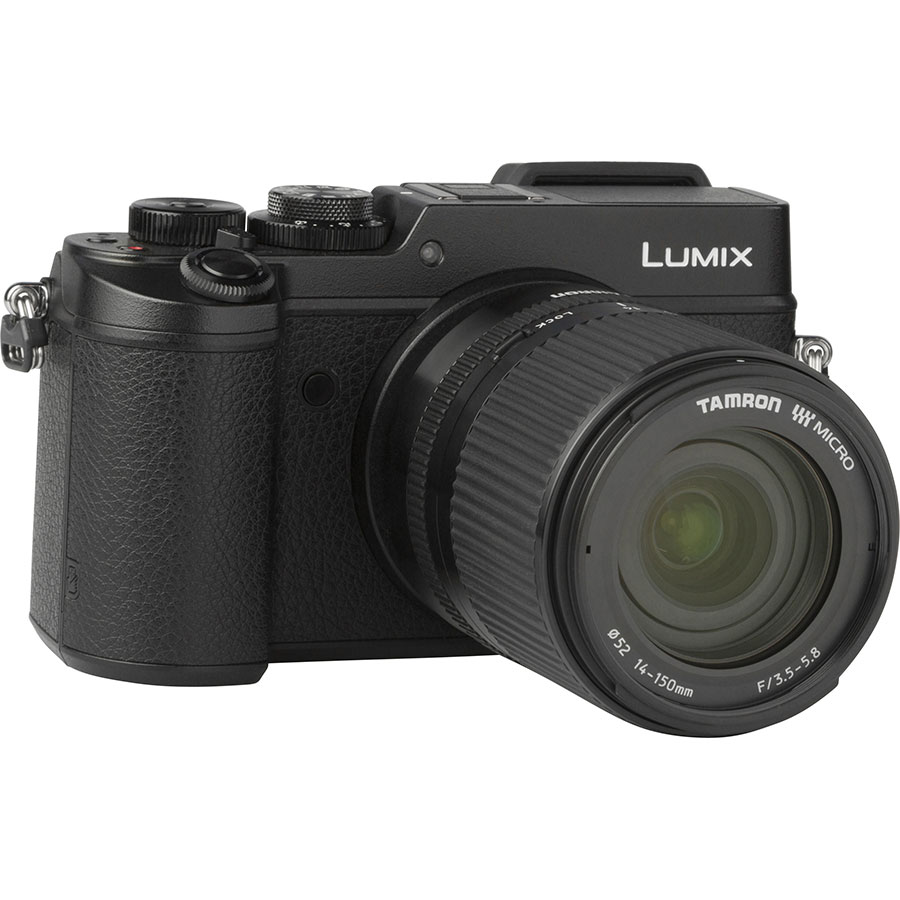 Panasonic Lumix DMC-GX8 + Tamron 14-150 mm Di III - Vue de 3/4 vers la droite