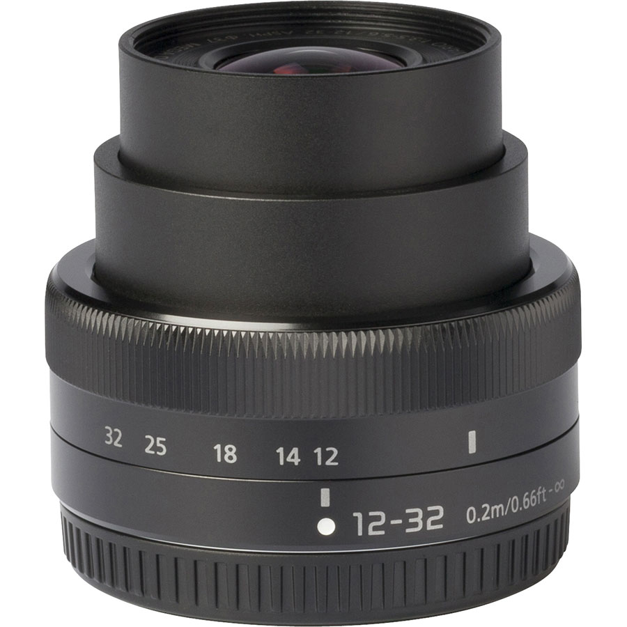 Panasonic Lumix DMC-GX80 + Lumix G Vario 12-32 mm Mega OIS - Vue de face sans objectif