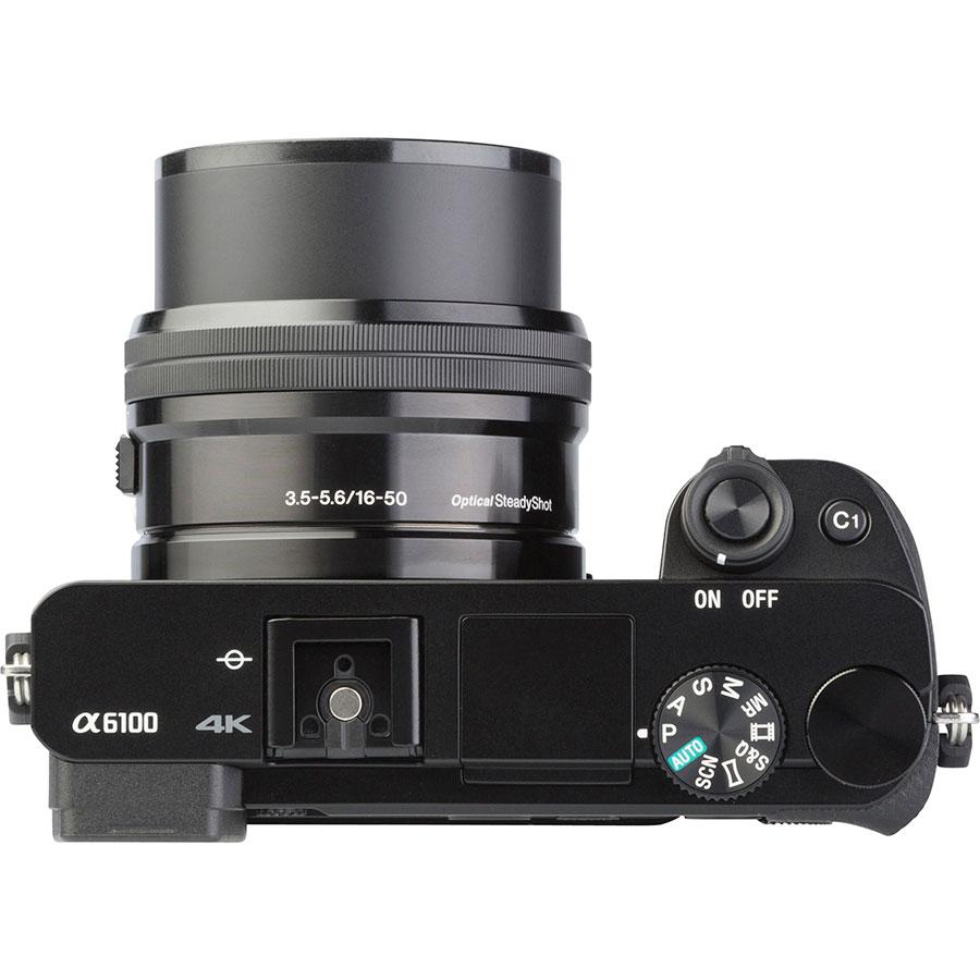 Sony ILCE-6100 + E 16-50 mm PZ OSS SELP1650 - Vue du dessus