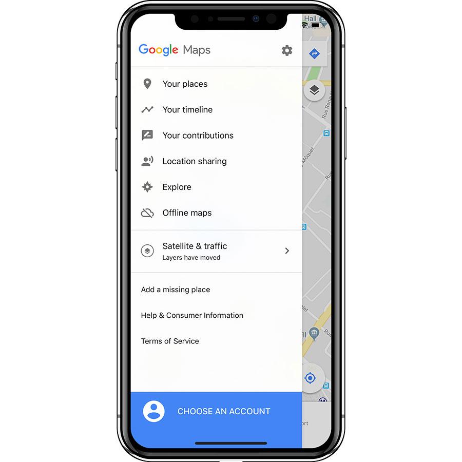 Google Maps - GPS Navigation - Menu principal