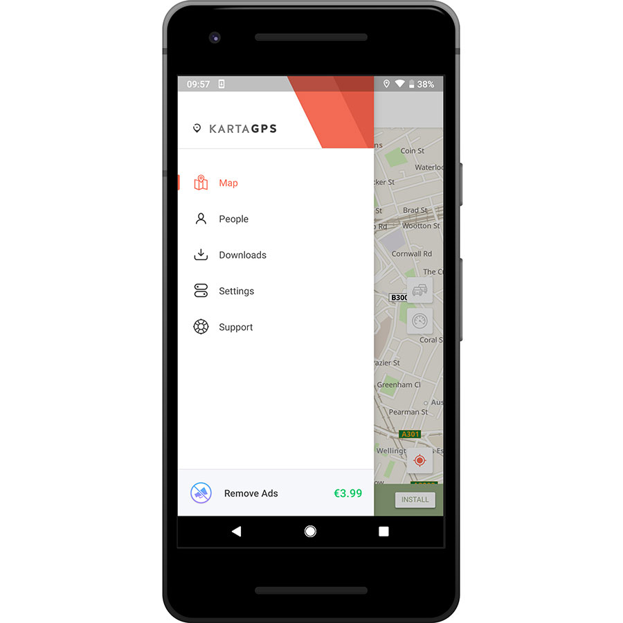 Karta GPS - Offline Navigation - Menu principal