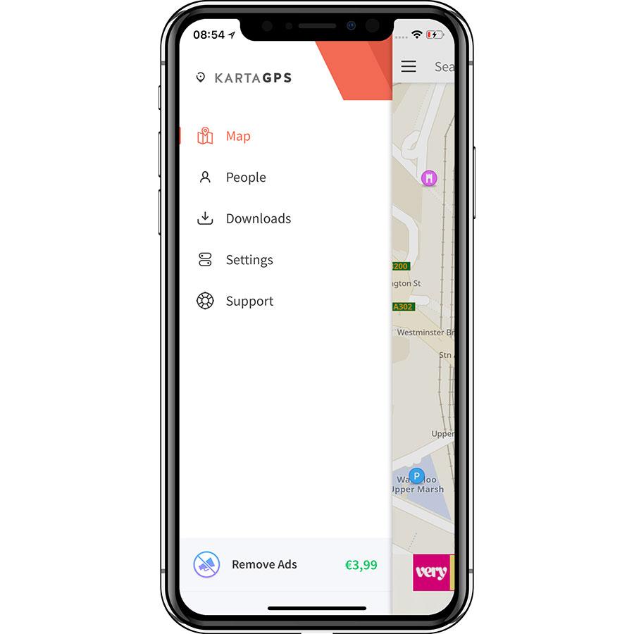 Karta GPS - Sat Nav Maps - Menu principal