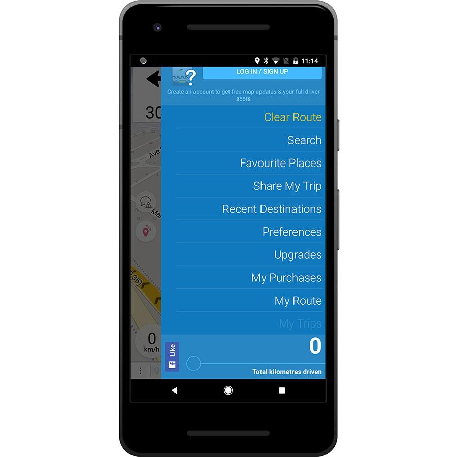 Navmii GPS World (Navfree) - Menu principal