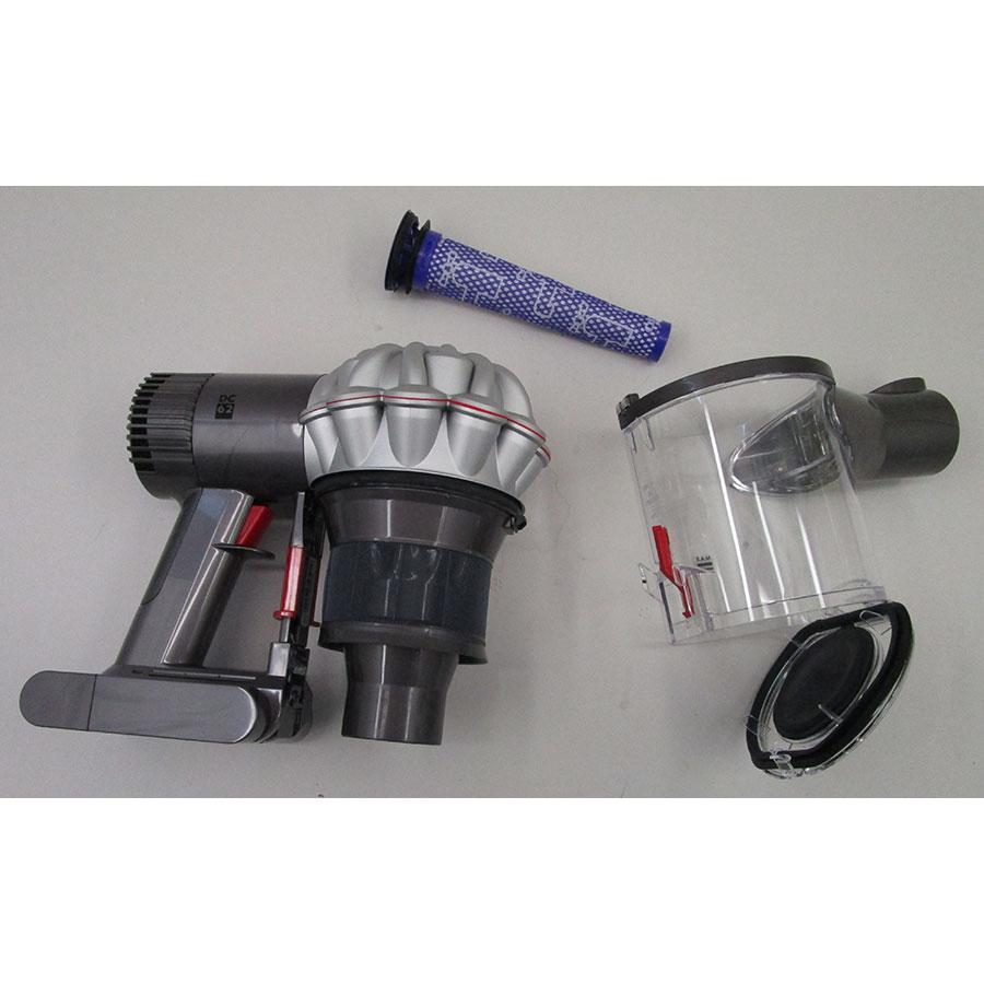 Dyson DC62 Extra - Bac à poussières et ses filtres démontés