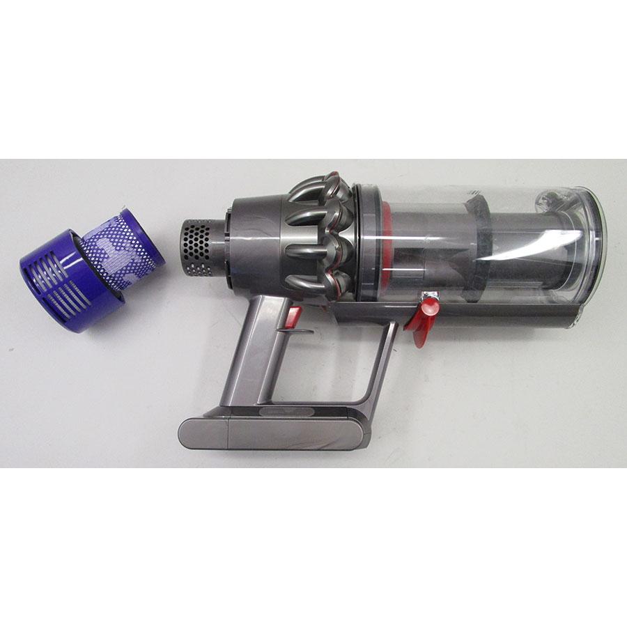 Dyson V10 Absolute - Bac à poussières et ses filtres démontés