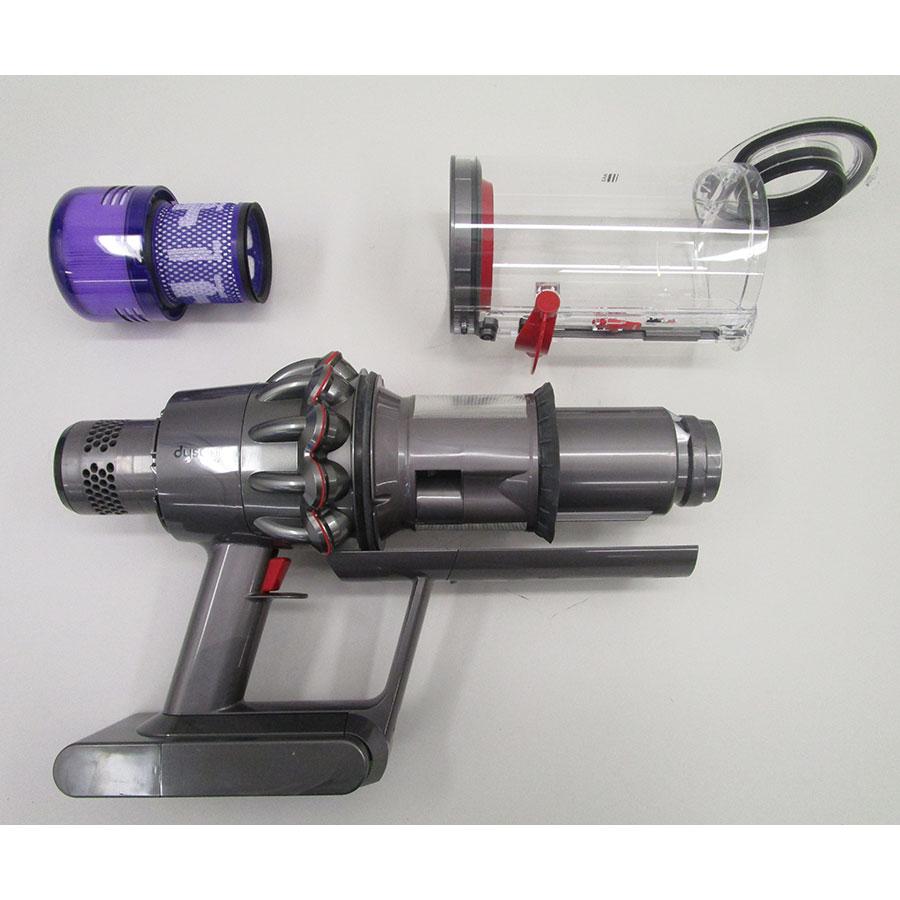 Dyson V11 Absolute - Bac à poussières et ses filtres démontés