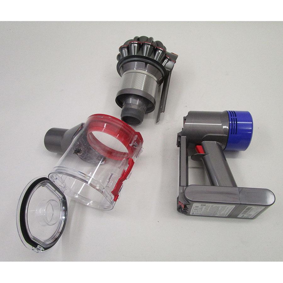 Dyson V8 Motorhead + kit Tool - Bac à poussières et ses filtres démontés