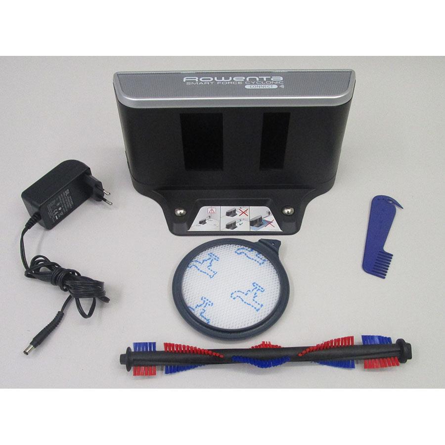Rowenta Smart Force Cyclonic RR8043WH  - Station de charge et accessoires fournis