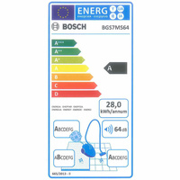 Bosch BGS7MS64 Relaxx'x Ultimate ProSilence64 - Étiquette énergie