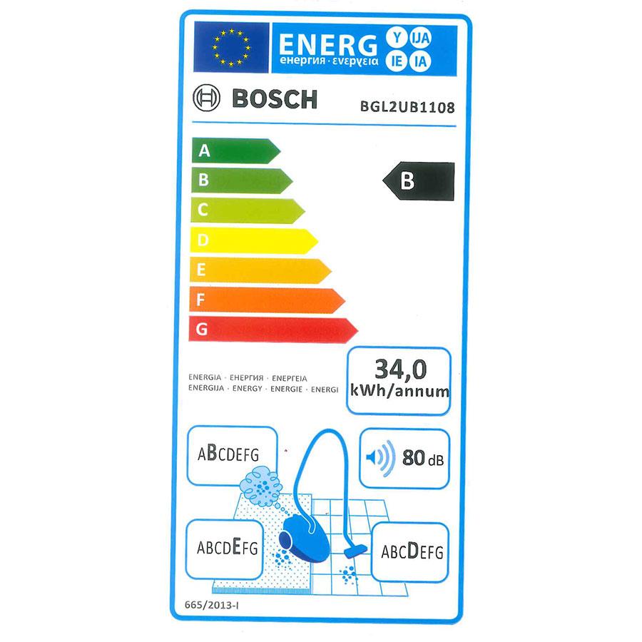 Bosch BGL2UB1108 GL-20 bag&bagless - Étiquette énergie