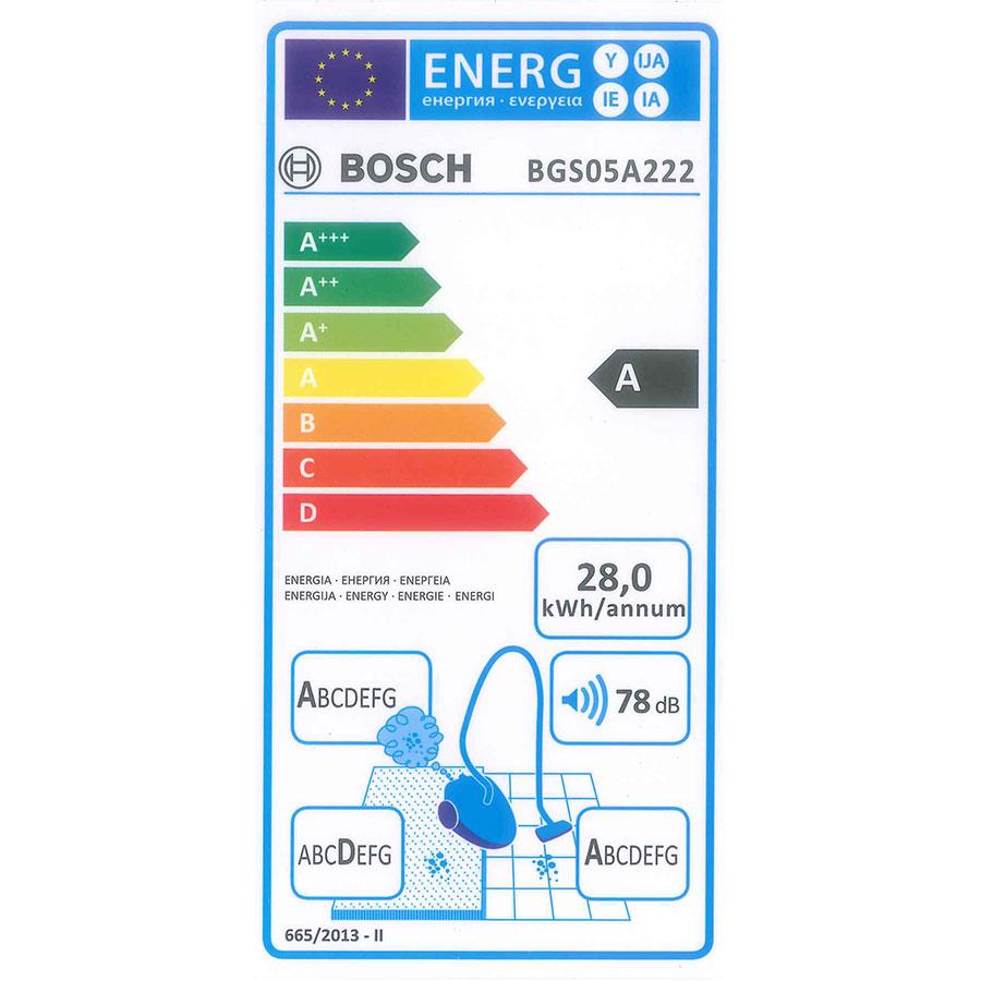 Bosch BGS05A222 GS05 Cleann'n - Étiquette énergie