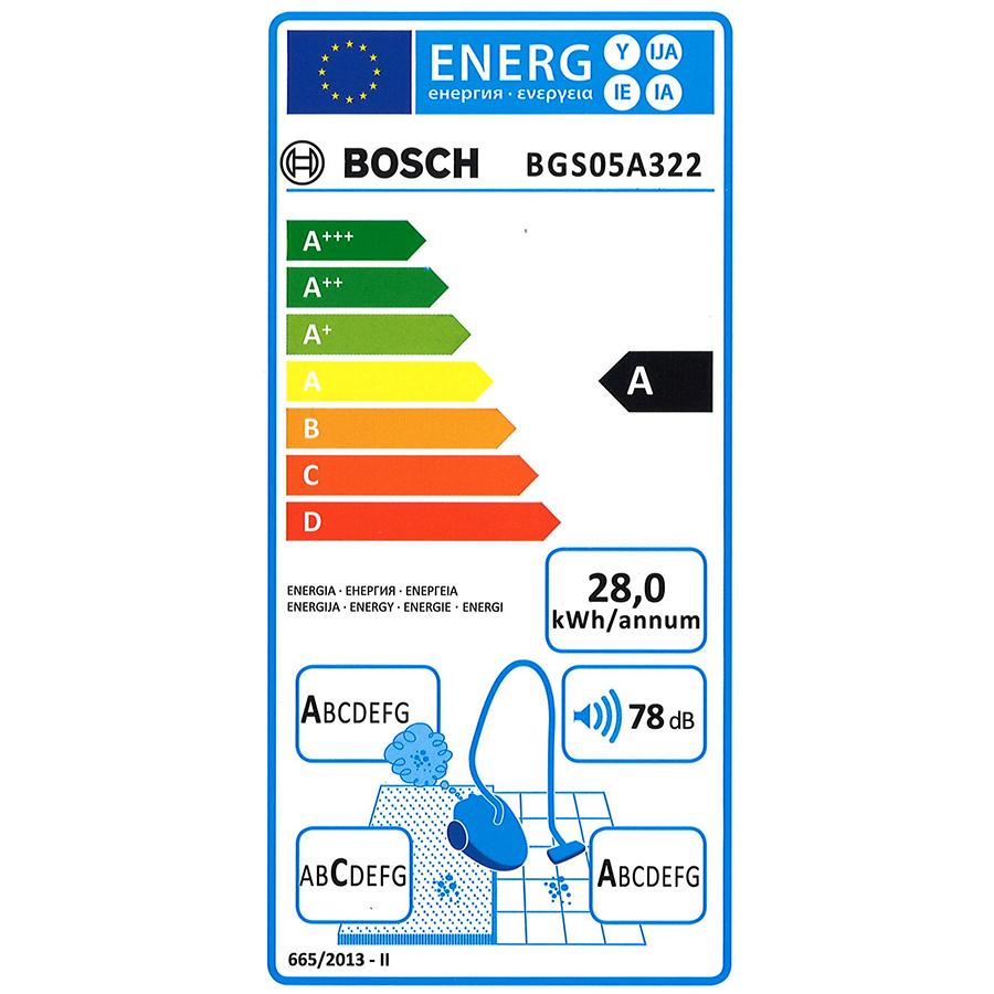 Bosch BGS05A322 GS05 Cleann'n - Étiquette énergie