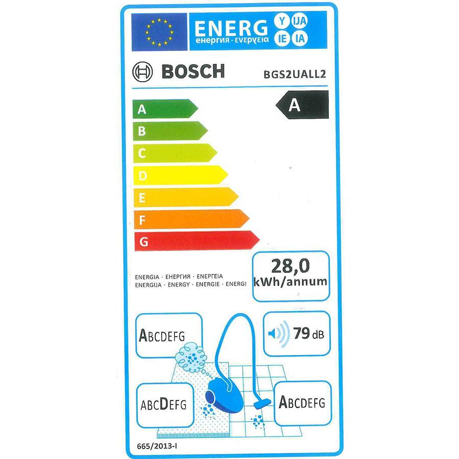 Bosch BGS2UALL2 GS-20 Easyy'y - Étiquette énergie