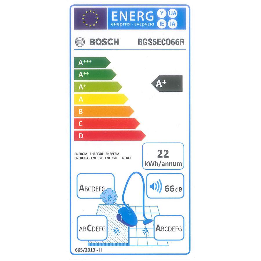 Bosch BGS5ECO66R Relaxx'x ProSilence66 - Étiquette énergie
