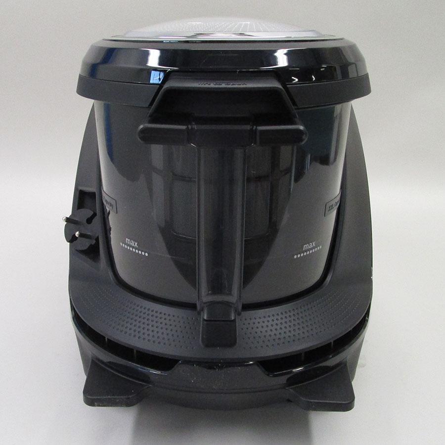 Bosch BGS7MS64 Relaxx'x Ultimate ProSilence64 - Sortie de câble et sérigraphie sur le réservoir à poussières du niveau maximum
