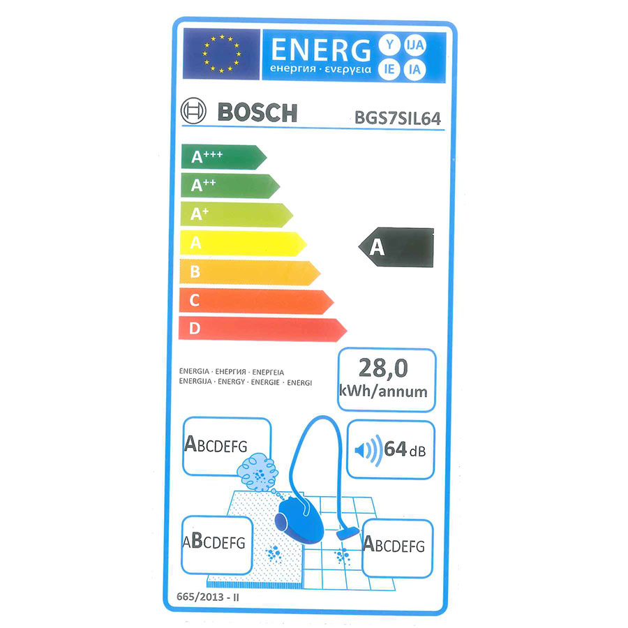 Bosch BGS7SIL64 GS70 Relaxx'x Ultimate - Étiquette énergie