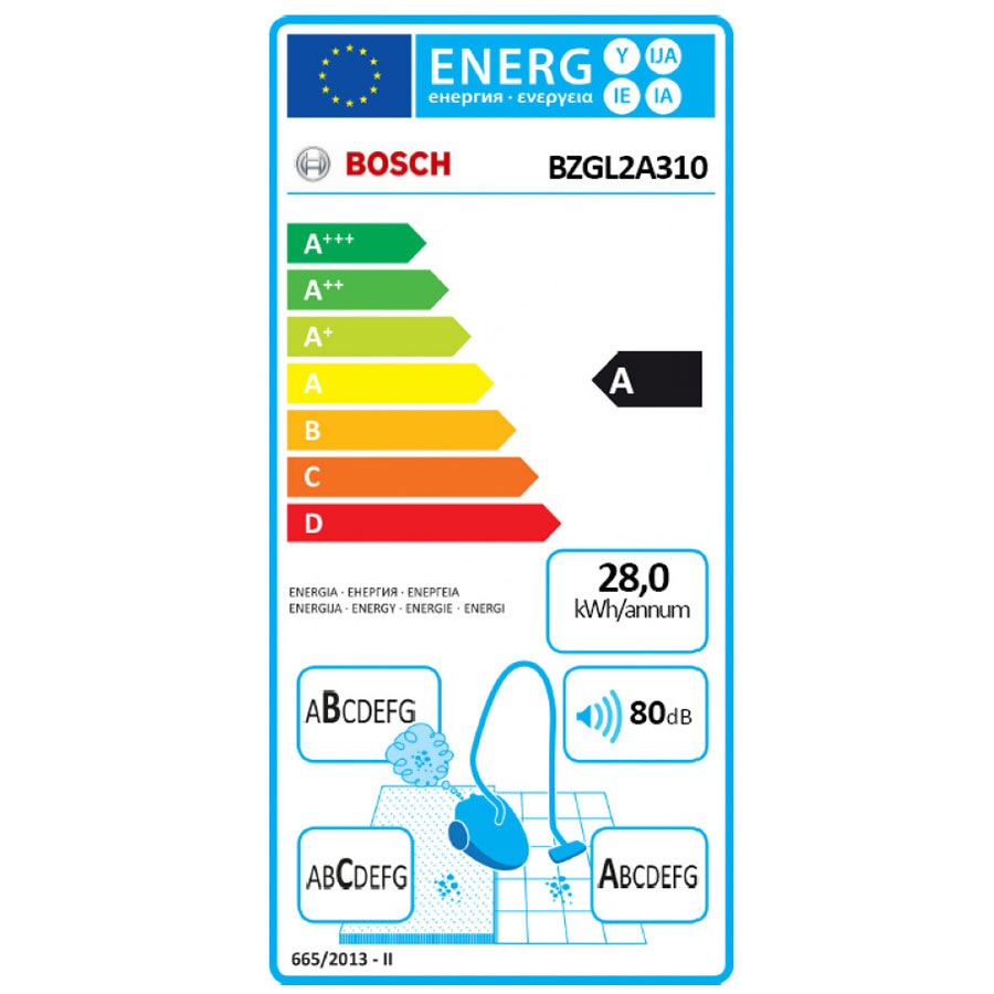 Bosch BZGL2A310 Compaxx'x - Étiquette énergie