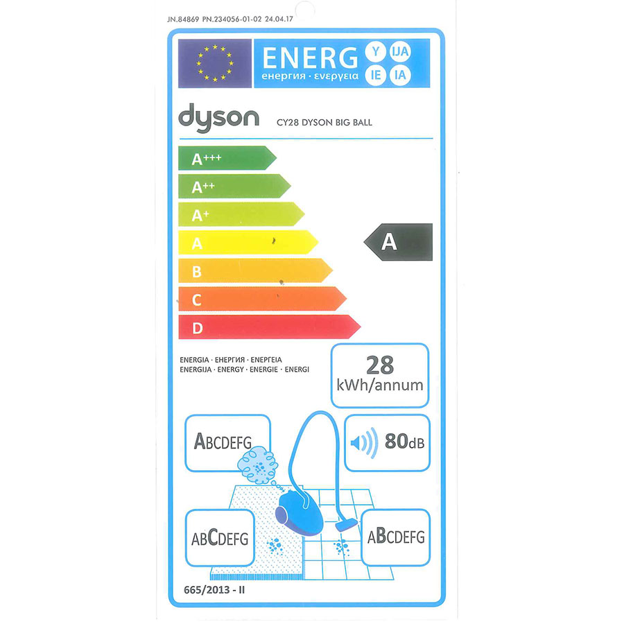 Dyson Big ball Allergy 2 - Étiquette énergie