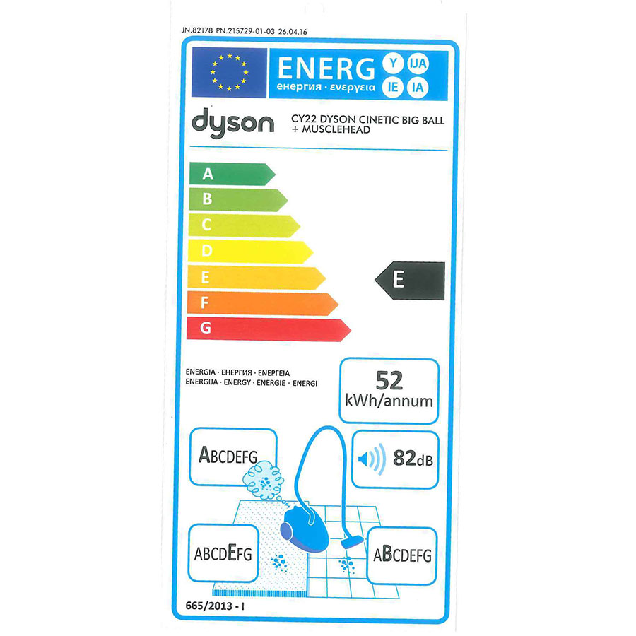 Dyson Cinetic Big Ball Parquet - Étiquette énergie