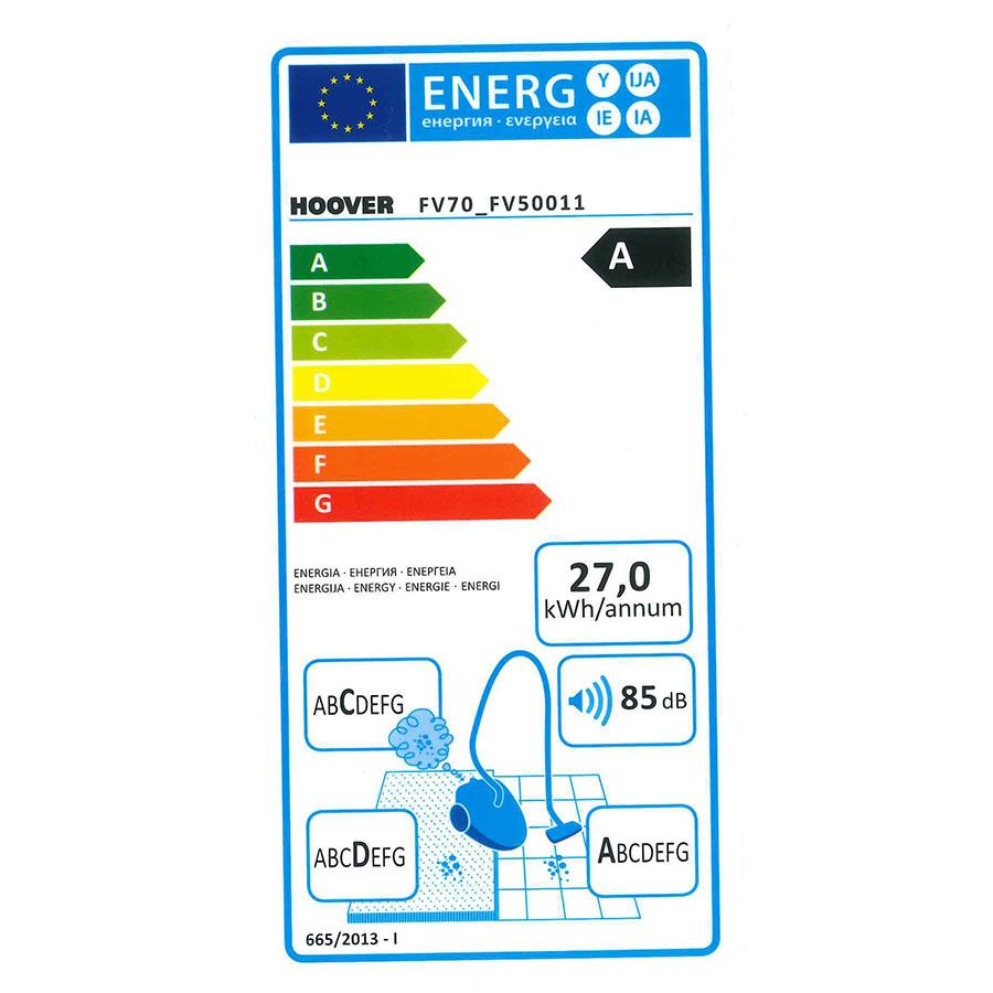 Hoover FV70 FV50 Freespace Evo - Étiquette énergie