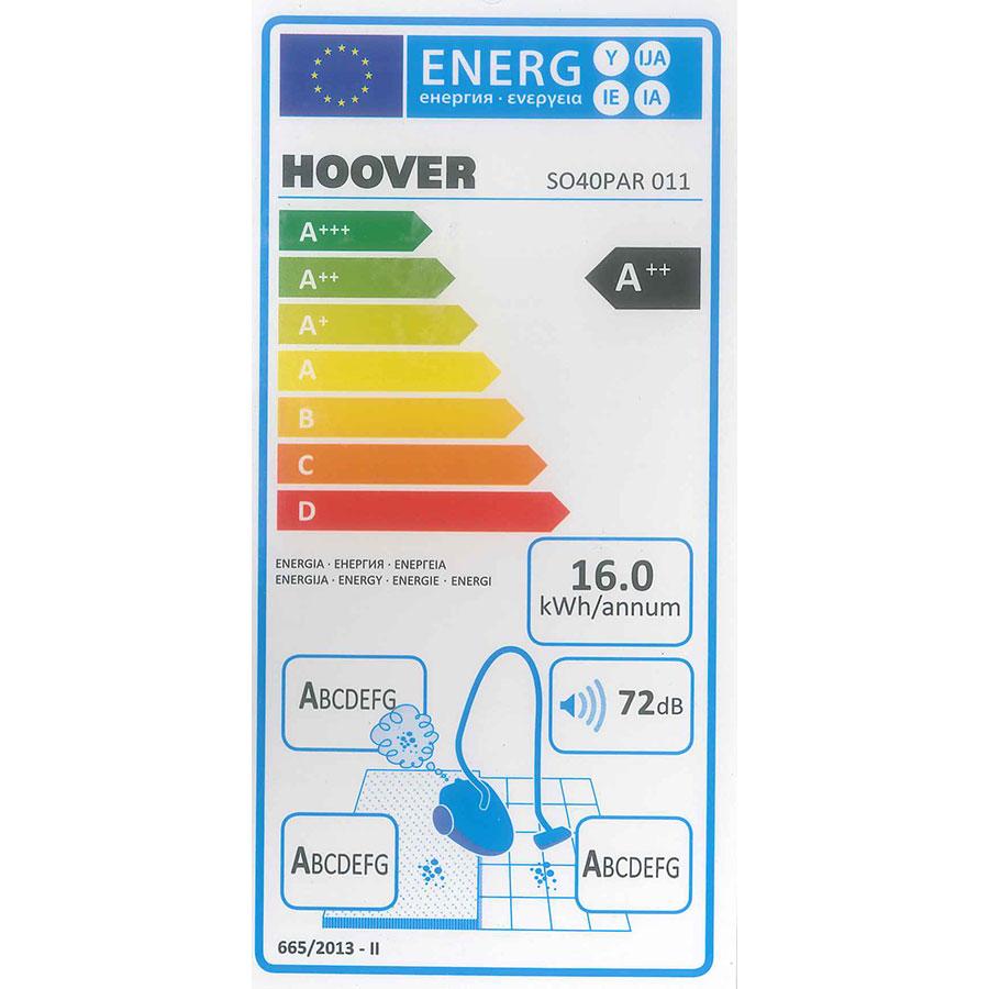 Hoover SO60PAR Sensory Evo - Étiquette énergie
