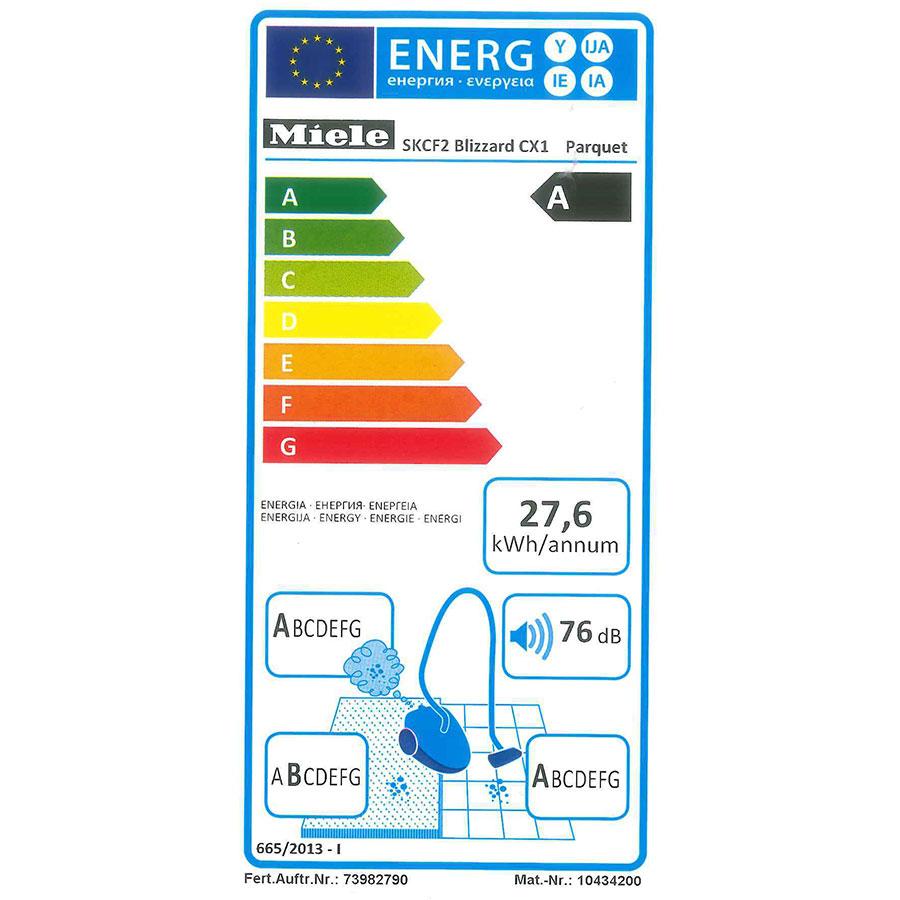 Miele Blizzard CX1 Parquet EcoLine - Étiquette énergie