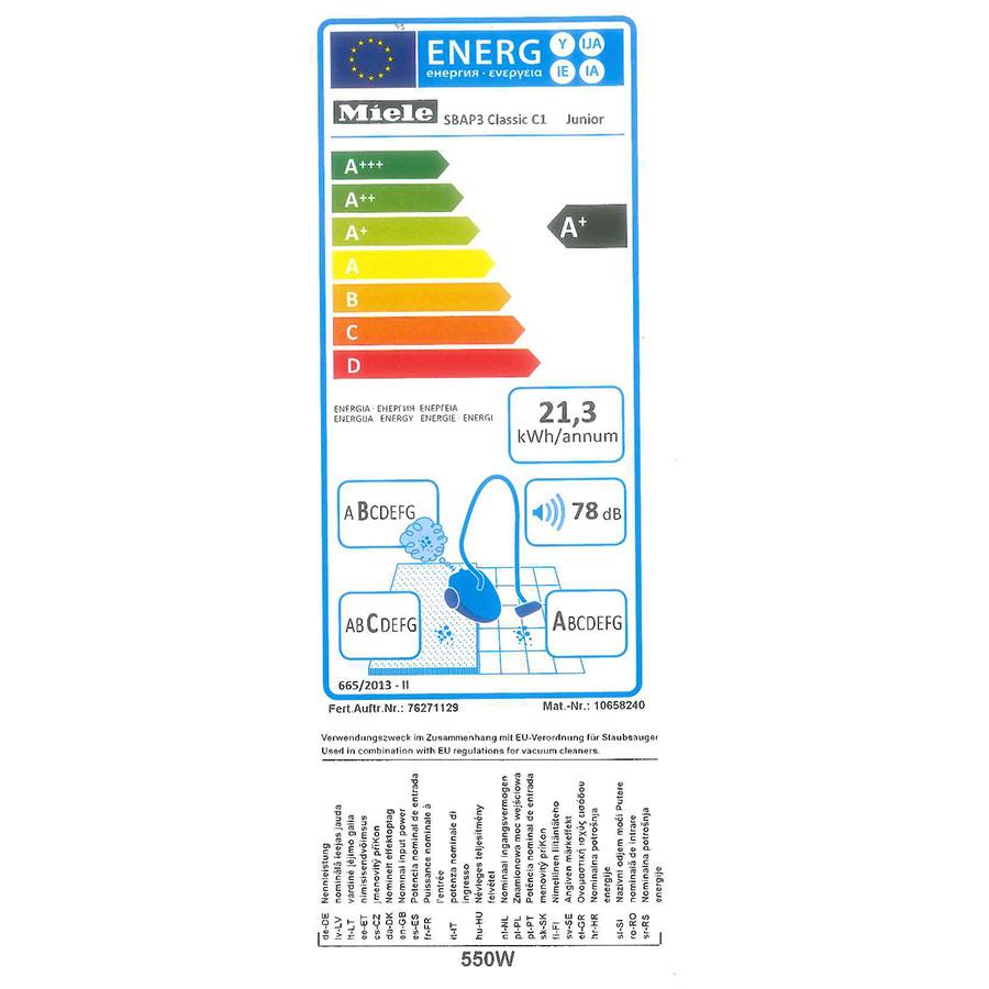 Miele Classic C1 EcoLine SBAP3 - Étiquette énergie