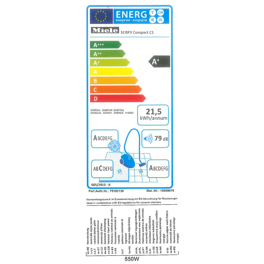 Miele Compact C1 EcoLine SCRP3 - Étiquette énergie