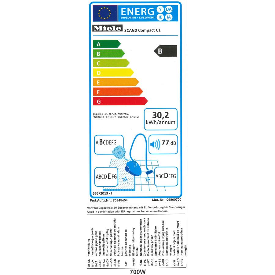 Miele Compact C1 Ecoline - Étiquette énergie