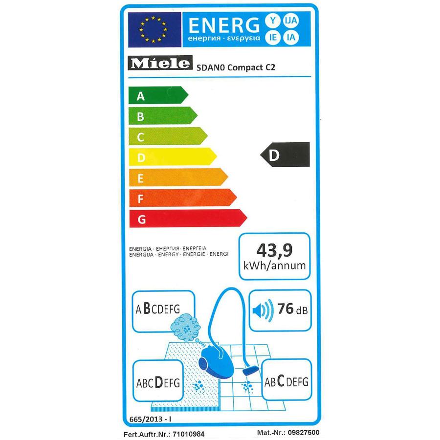 Miele Compact C2 PowerLine - Étiquette énergie