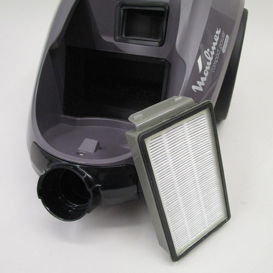 Moulinex MO3736PA Compact Power cyclonic parquet - Filtre entrée moteur sorti
