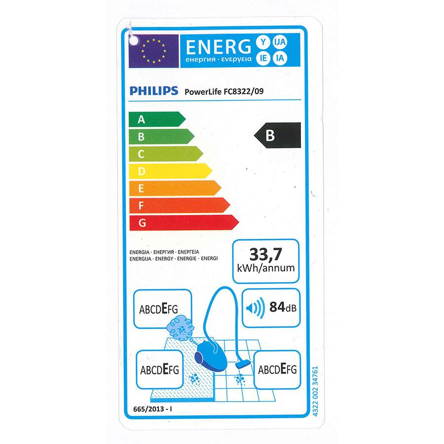 Philips FC8322/09 PowerLife - Étiquette énergie