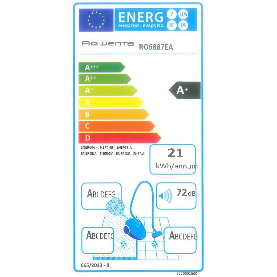 Rowenta RO6887EA X-Trem Power 4A+ Car Pro - Étiquette énergie