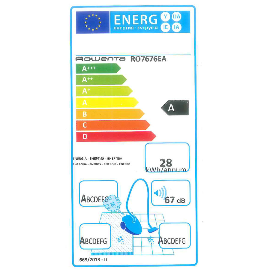 "Rowenta RO7676EA Silence Force Cyclonic 4A ""Home & Car Pro"" - Étiquette énergie"
