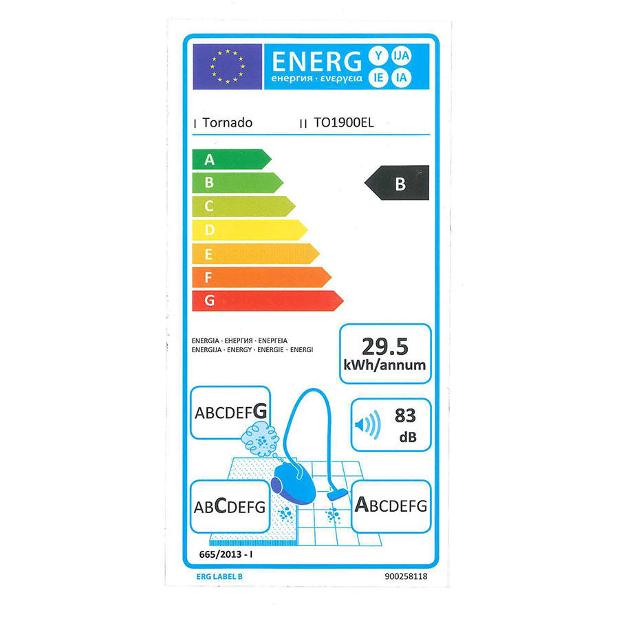 Tornado TO1900EL Cyclon Classic - Étiquette énergie
