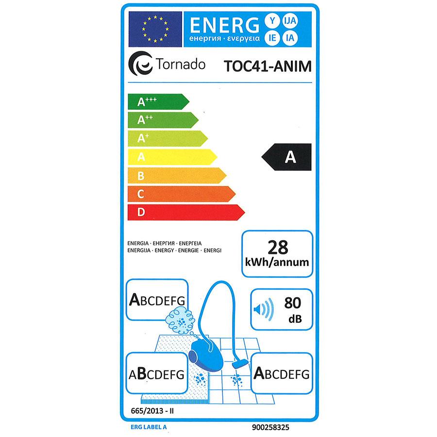 Tornado TOC41-ANIM Toc4 Animal - Étiquette énergie