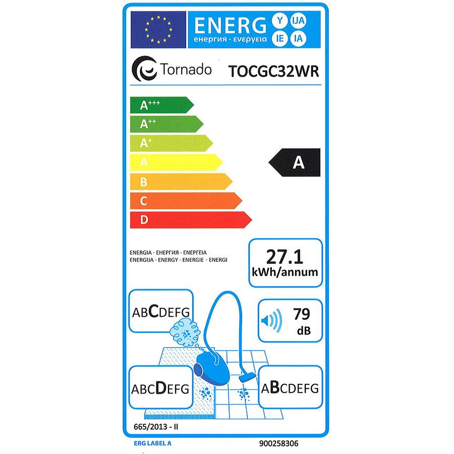 Tornado TOCGC32WR Compact Go Cyclonic - Étiquette énergie