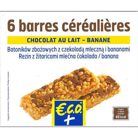 test eco leclerc p pites de chocolat au lait et banane barres de c r ales standards ufc. Black Bedroom Furniture Sets. Home Design Ideas