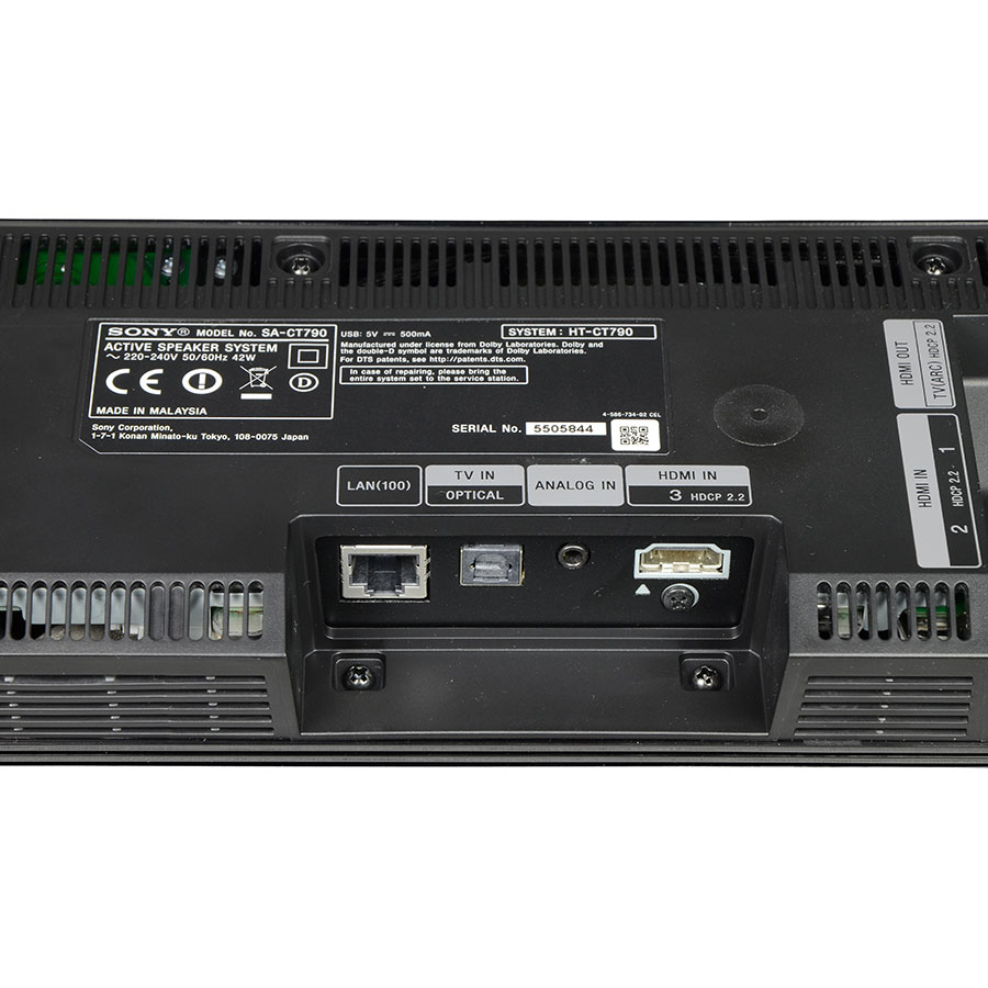 Sony HT-CT790 - Connectique