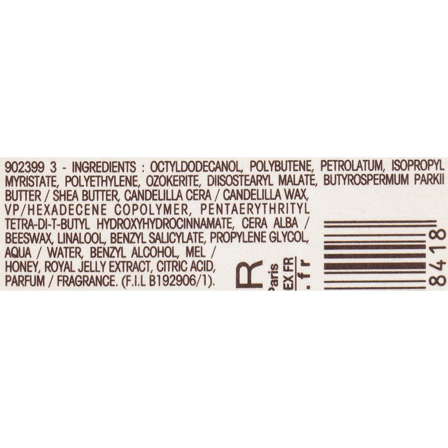 Garnier Ultra doux Trésors de miel, baume à lèvres nourrissant - Liste des ingrédients