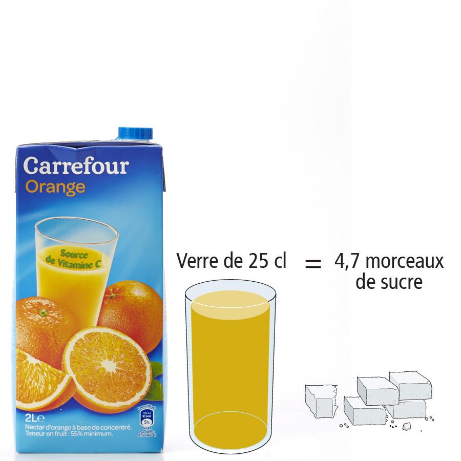 Carrefour Nectar orange - Nombre de morceaux de sucre par portion
