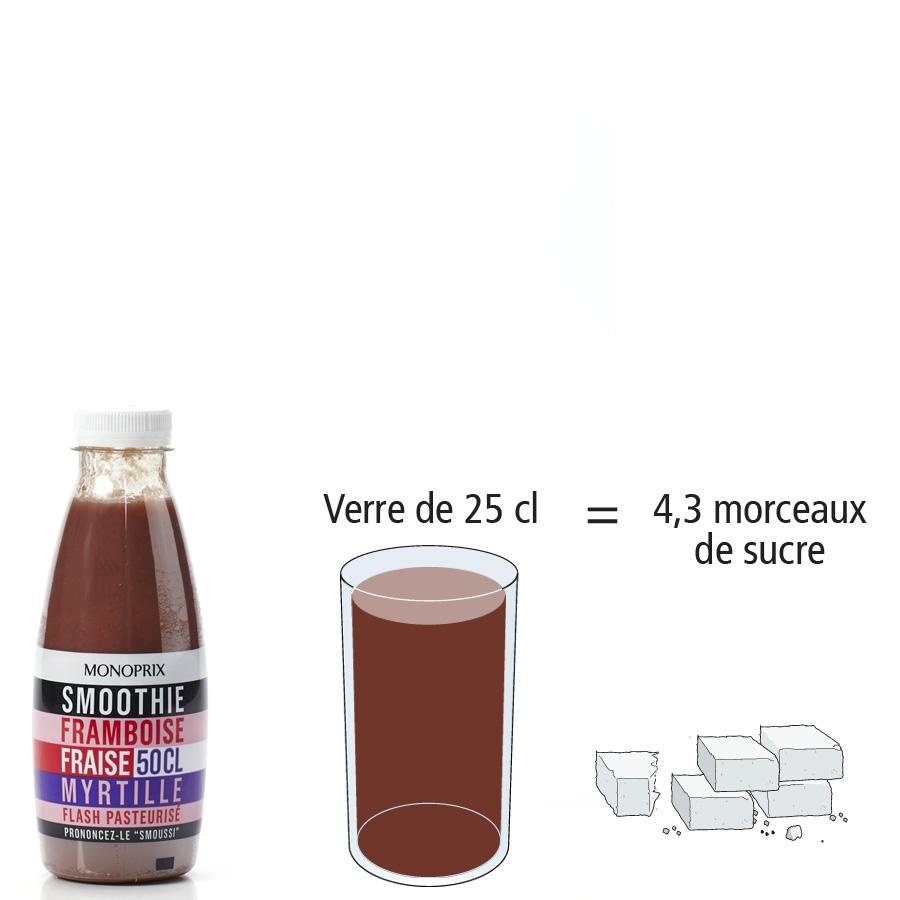 Monoprix Smoothie framboise fraise myrtille - Nombre de morceaux de sucre par portion