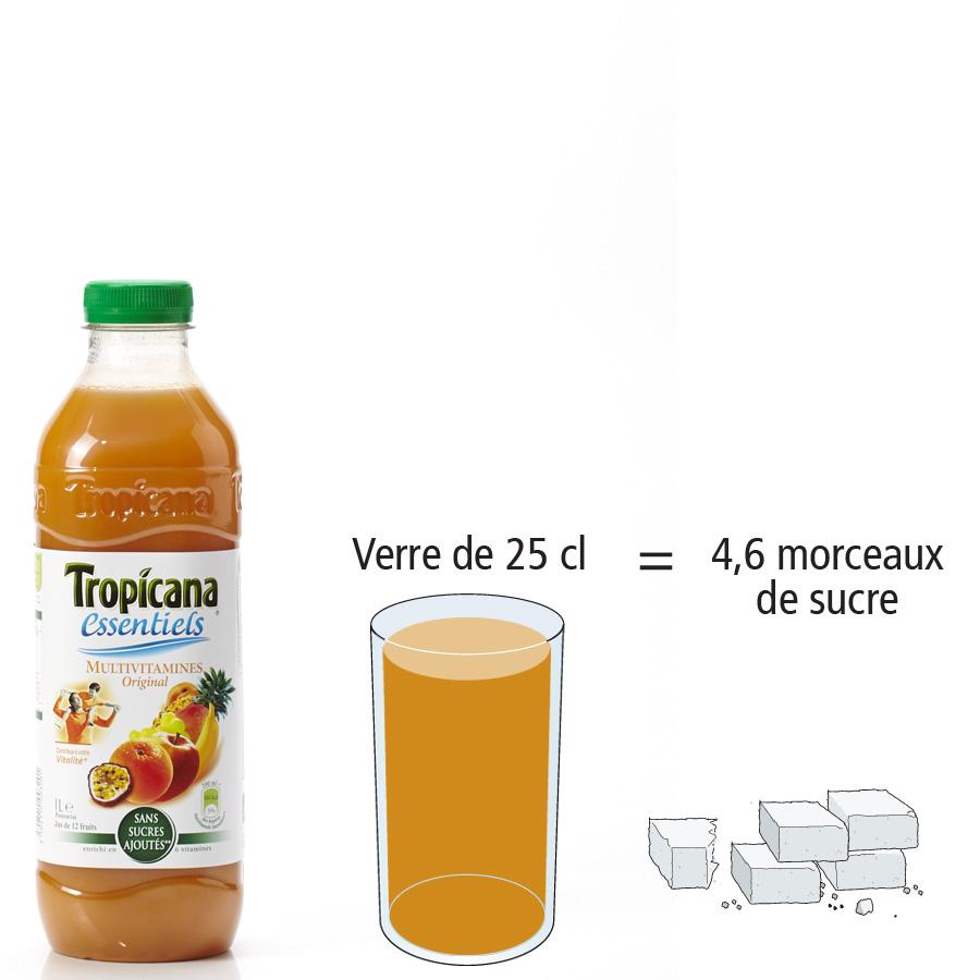 Tropicana Essentiels multivitamines original - Nombre de morceaux de sucre par portion