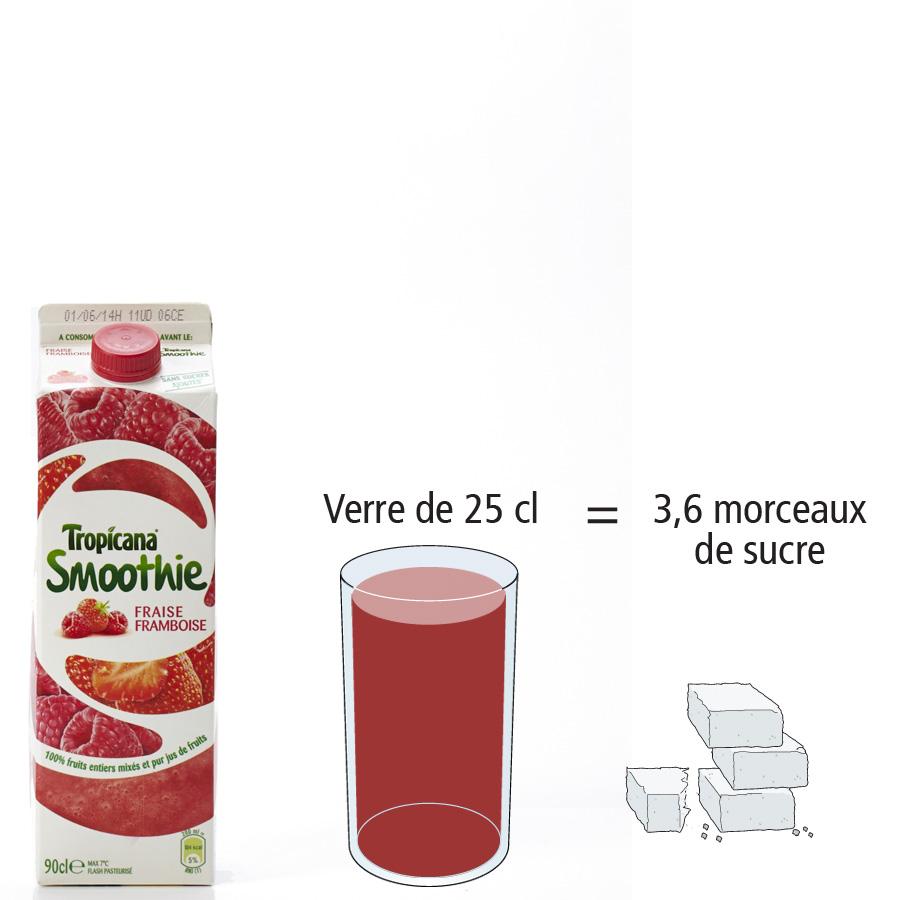 Tropicana Smoothie fraise framboise - Nombre de morceaux de sucre par portion