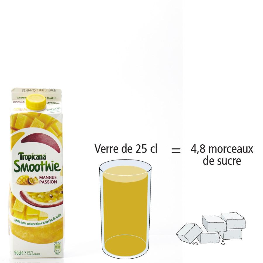 Tropicana Smoothie mangue passion - Nombre de morceaux de sucre par portion