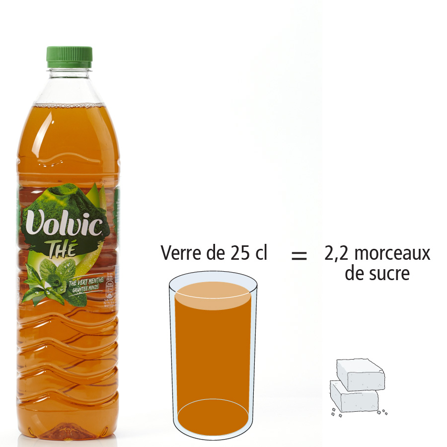 Volvic Thé vert menthe - Nombre de morceaux de sucre par portion