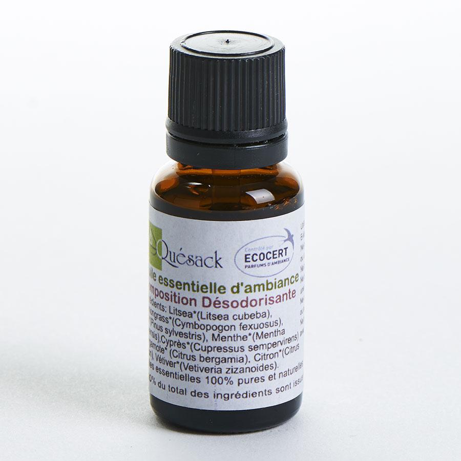 Quésack Huiles essentielles composition désodorisante utilisées avec le photophore Orion de Quésack -